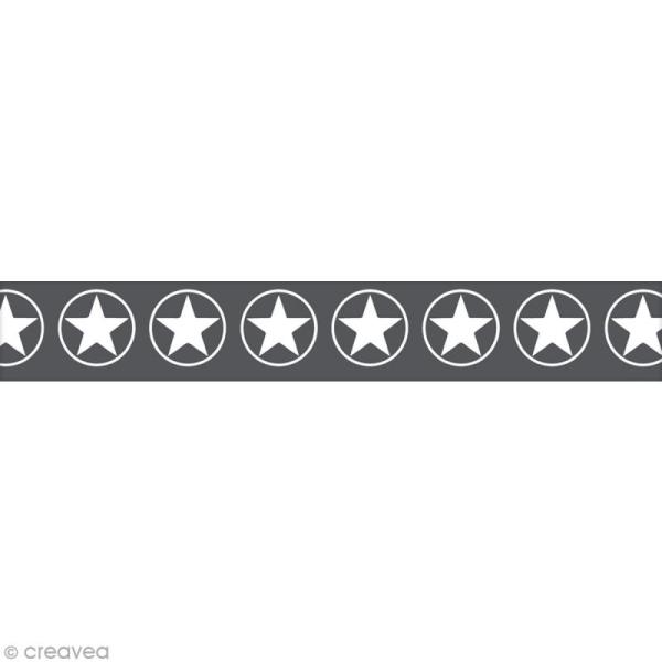 Masking Tape Toga - étoilés noir et blanc - 10 m x 15 mm - Photo n°1