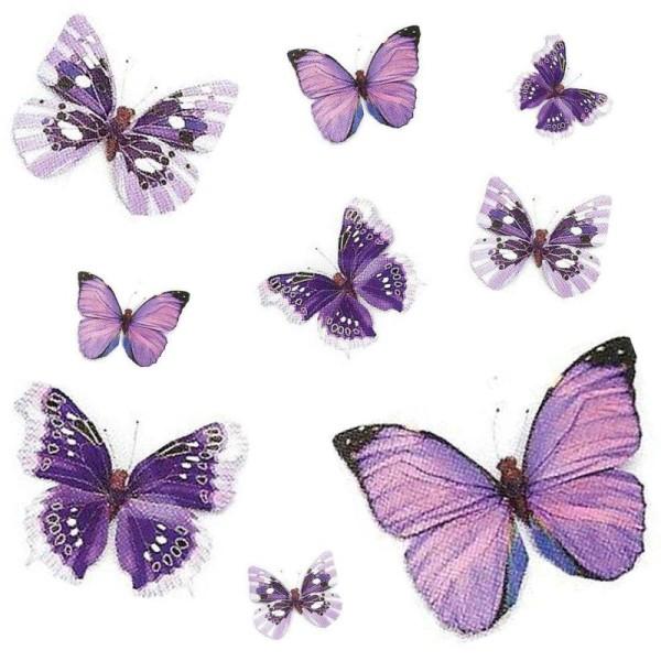 Papillon En Papier Avec Clip 11Cm (Violet) - Photo n°1