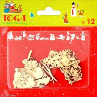Assortiment de formes en bois - Noël - 12 pcs