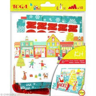 Set carterie - Noël au pays des jouets - Kit 10 cartes de voeux