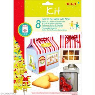 Kit boîtes de sablé de Noël - 8 boîtes avec décorations et accessoires