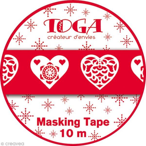 Masking Tape Noël - Coeurs scandinave - 10 mètres - Photo n°2