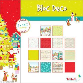 Bloc Déco Toga - Noël au pays des jouets - 20 x 20 cm - 28 feuilles
