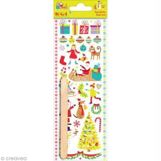 Rub-ons Transferts Noël au pays des jouets - Fantaisies - Planche de 7,5 x 20 cm
