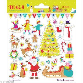 Stickers Noël au pays des jouets - 2 planches de 15 x 15 cm - 58 stickers