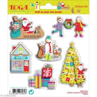 Stickers 3D Noël au pays des jouets Toga - 6 autocollants