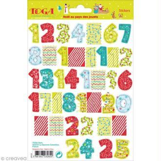 Stickers chiffres - Noël au pays des jouets - 25 stickers
