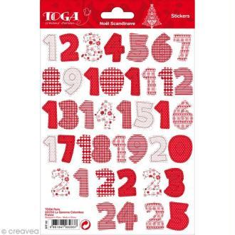 Stickers chiffres - Noël Scandinave - 25 stickers