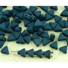 K98//10 Tchèque KHEOPS PAR PUCA 2 Trous Triangle Perles Pastel Vert 6 mm 9 g tube