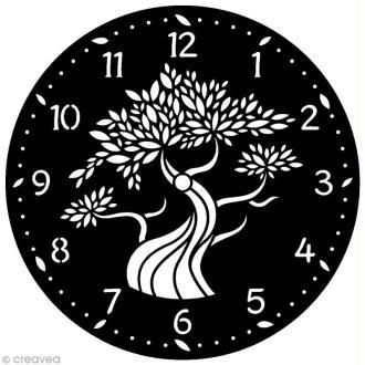 Pochoir Home Deco rond - Horloge Arbre - 28 cm