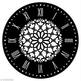 Pochoir Home Deco rond - Horloge Fleur - 28 cm