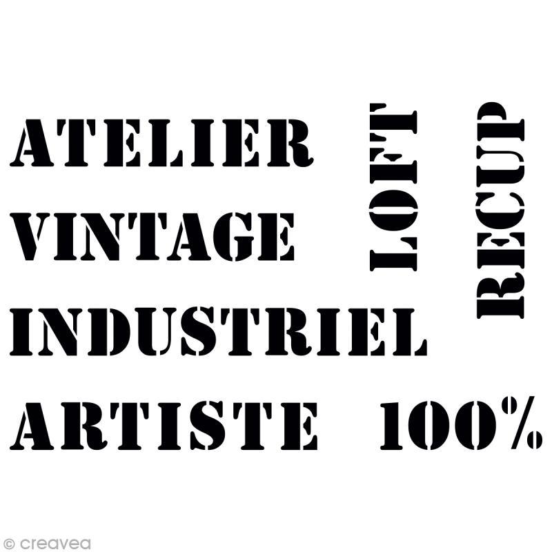 Pochoir texte vintage pour home deco a3 29 7 x 42 cm pochoir mural cr - Pochoir style industriel ...