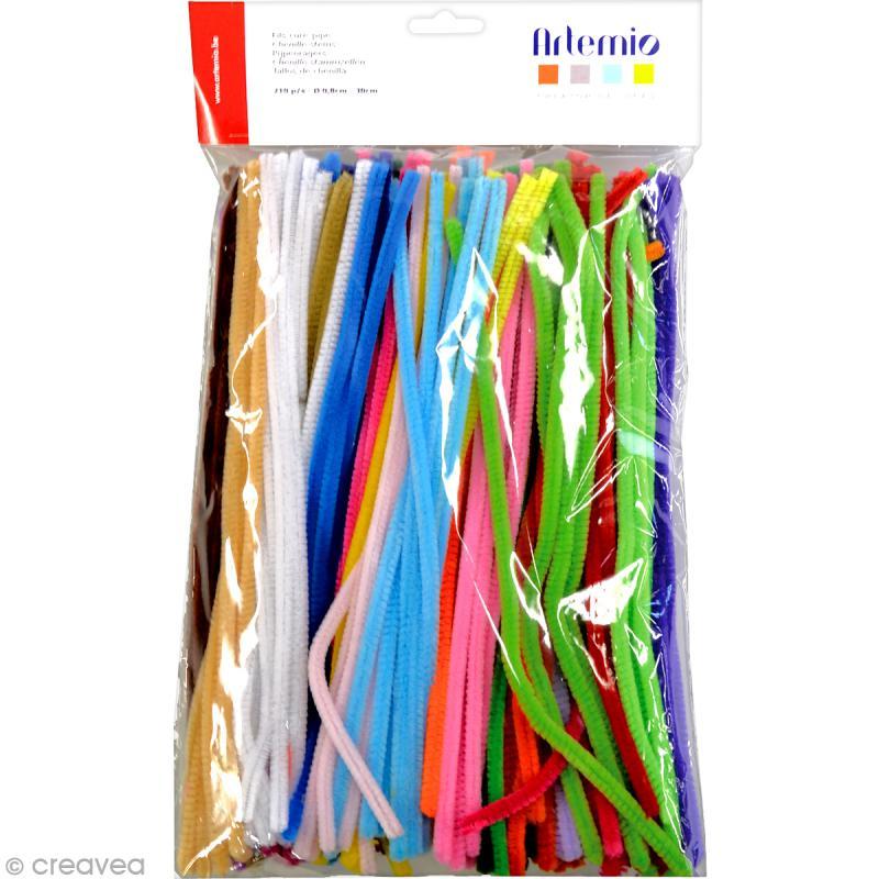 Fil chenille 0,8 x 30 cm - Multicolore - 210 pcs - Photo n°1