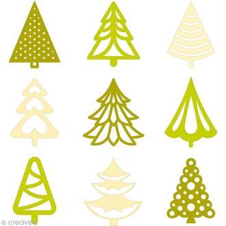 Set de mini silhouettes en feutrine - Sapins - 45 pcs