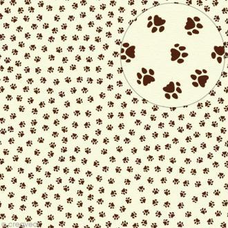 Feutrine imprimée 1 mm 30 x 30 cm - Pattes de chat marron Fond ivoire