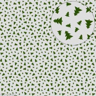 Feutrine imprimée 1 mm 30 x 30 cm - Sapins verts Fond blanc