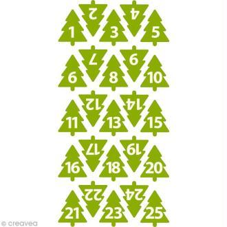 Chiffres de l'Avent en feutrine - Sapin vert 3 cm - 24 pcs