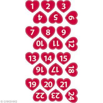 Chiffres de l'Avent en feutrine - Coeur rouge brodé 2,2 cm - 24 pcs