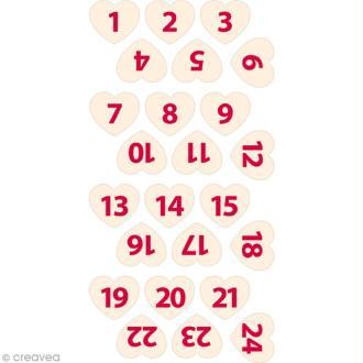 Chiffres de l'Avent en feutrine - Coeur blanc 2,2 cm - 24 pcs