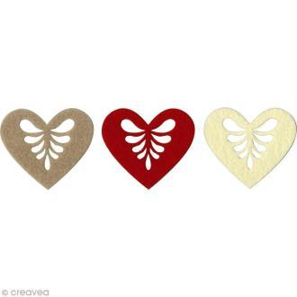 Coeur en feutrine - 7 x 6 cm - 3 pcs