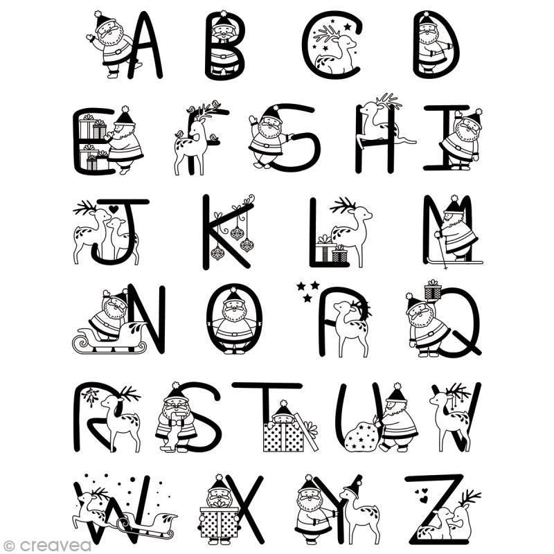 Tampon clear alphabet de no l planche 14 x 18 cm 26 - Alphabet de noel ...