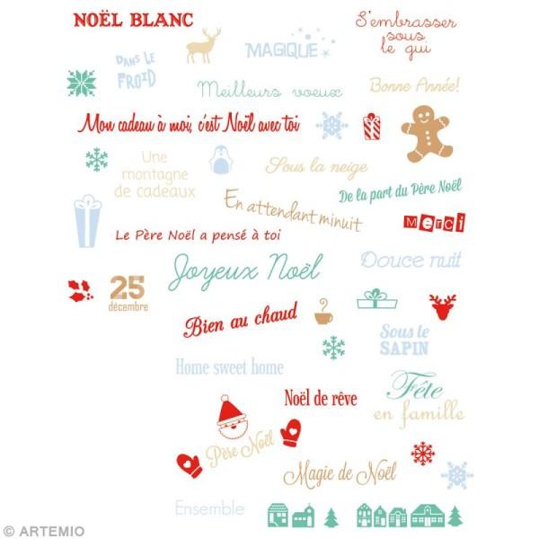Tampon clear Mots de Noël - Planche 14 x 18 cm - 50 tampons transparents - Photo n°2