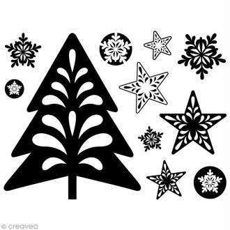 Mini tampon transparent Sapin et étoile de Noël - Planche 7 x 9 cm -  tampons clears
