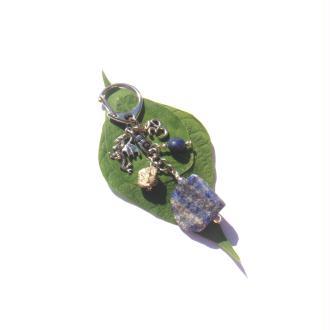 Bijou de Sac Rocher Lapis Lazuli et Pyrite, breloques dragon,Ohm 9 CM