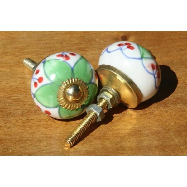 Bouton rond de porte ou tiroir, vert et rouge,  de 30 mm de diamètre. - Photo n°2