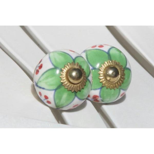 Bouton rond de porte ou tiroir, vert et rouge,  de 30 mm de diamètre. - Photo n°1