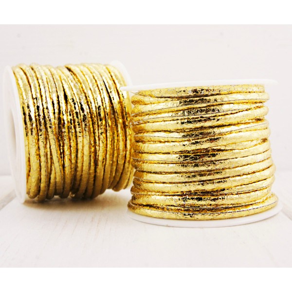 0,92 m 3ft 1yrd Metallic Gold en PU Souple Plat Cordon en Cuir Bracelet Collier de Prise d'Artisanat - Photo n°1