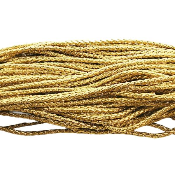 2m 6,5 pi d'Or SIMILI Cuir Tressé de Corde Torsadée Cordon Bracelet Collier de Prise d'Artisanat 3mm - Photo n°1