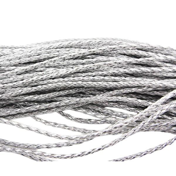 2m 6.5 ft Argent SIMILI Cuir Tressé de Corde Torsadée Cordon Bracelet Collier de Prise d'Artisanat 3 - Photo n°1