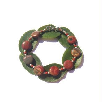 Bracelet Jaspe Picasso et Rouge 18/18,7 CM de tour de poignet