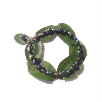 Bracelet Azurite Chrysocolle réhaussée 17,5/18,5 CM de tour de poignet