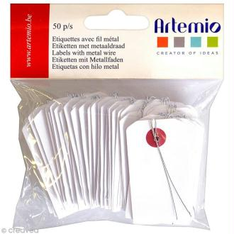 Étiquette en papier avec fil métal - 3 x 5,5 cm - 50 pcs