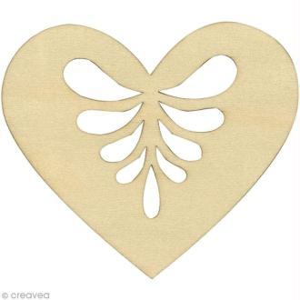 Silhouette Coeur en bois 7 cm - 3 pcs