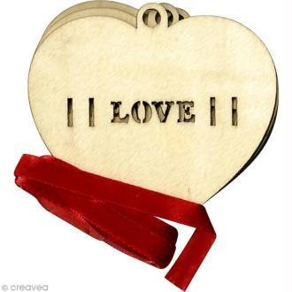 Kit de 3 suspensions Coeur 10 cm à décorer et ruban rouge