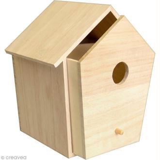 Nichoir à tiroir en bois - 15 x 13,5 cm