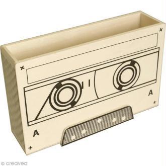 Pot à crayons Cassette en bois - 16 x 10 cm