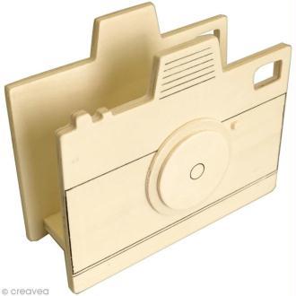 Porte courrier appareil photo en bois - 14 x 11,5 cm