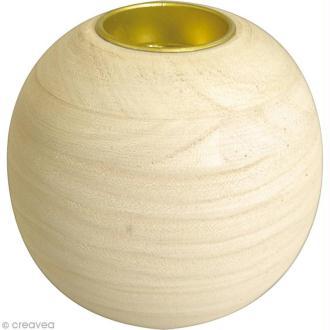 Bougeoir en bois - Boule de 9 cm