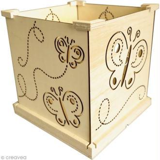 Lampe en bois à monter et à décorer - Motifs Papillons - 22 x 22 cm