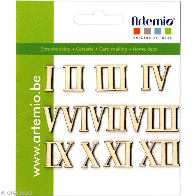 chiffres romains en bois de 1 12 alphabet a coller. Black Bedroom Furniture Sets. Home Design Ideas