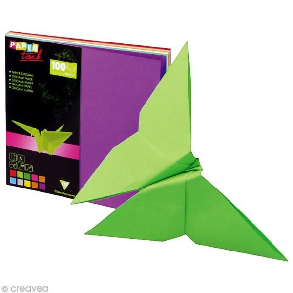 Papier origami 10 couleurs 12 x 12 cm - 100 feuilles - Photo n°1