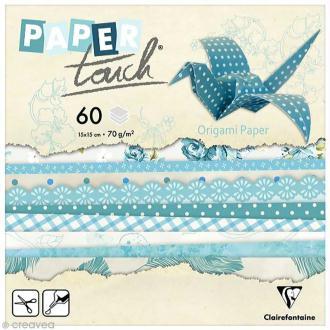 Papier origami Paper Touch - 15 x 15 cm - Fleurs bleues - 60 feuilles