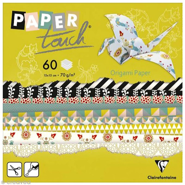 Papier origami Paper Touch - 15 x 15 cm - Cocooning - 60 feuilles - Photo n°1