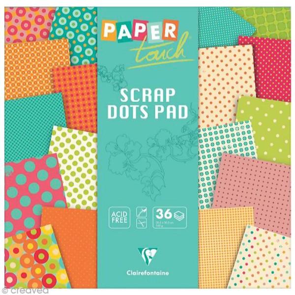Papier scrap Clairefontaine - Paper Touch - Pois Lemon - 36 feuilles 30,5 x 30,5 cm - Photo n°1
