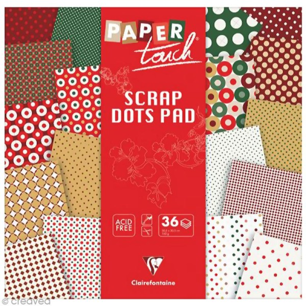 Papier scrap Clairefontaine - Paper Touch - Pois Christmas - 36 feuilles 30,5 x 30,5 cm - Photo n°1