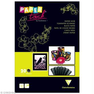 Papier noir pour activités manuelles - 20 feuilles A4 - 120 gr
